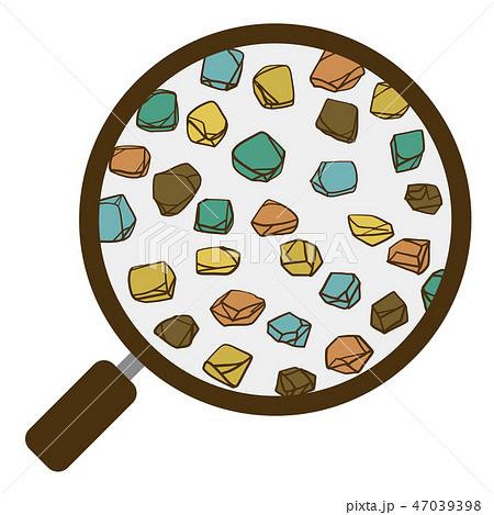 土 団粒構造 虫眼鏡 礫 ベクター素材 カラー 47039398