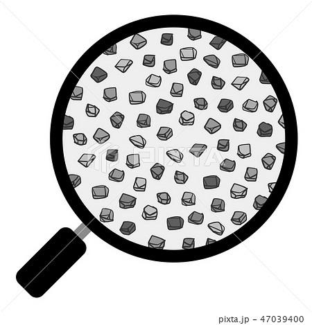 土 団粒構造 虫眼鏡 粗砂 ベクター素材 モノクロ 47039400