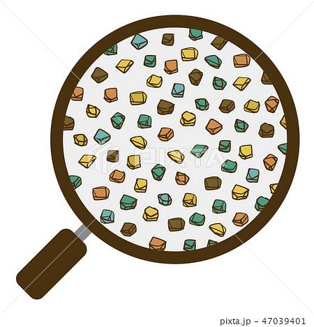土 団粒構造 虫眼鏡 粗砂 ベクター素材 カラー 47039401