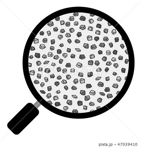 土 団粒構造 虫眼鏡 細砂 ベクター素材 モノクロ 47039410