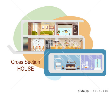 Futuristic House Cross Section Vector Interiors 47039440