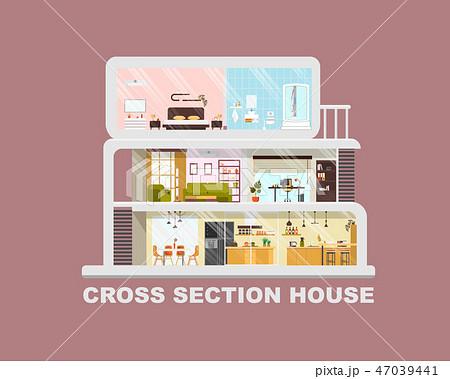 Modern House Cross Section Flat Vector Interiors 47039441