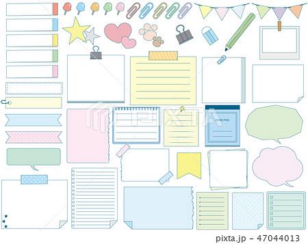 かわいいメモ用紙 文房具のイラスト素材 47044013