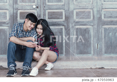 Romantic Young Couple in Love Outdoors 47050963