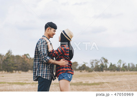 Romantic Young Couple in Love Outdoors. 47050969