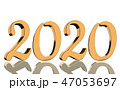 3D Render - The year 2020 in golden numbers 47053697