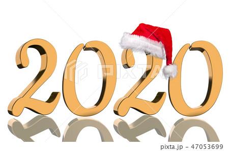 3D Render - 2020 in golden numbers with Santa Cap 47053699