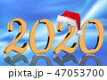 3D Render - 2020 in golden numbers with Santa Cap 47053700
