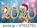 3D Render - 2020 in golden numbers with Santa Cap 47053701