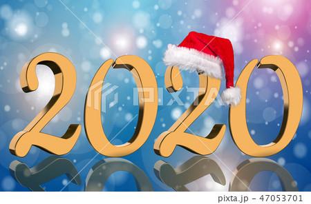 3D Render - 2020 in golden numbers with Santa Cap 47053701