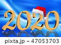 3D Render - 2020 in golden numbers with Santa Cap 47053703