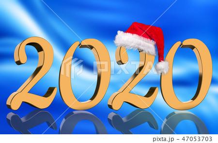 3D Render - 2020 in golden numbers with Santa Cap 47053703