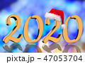 3D Render - 2020 in golden numbers with Santa Cap 47053704