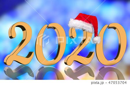 3D Render - 2020 in golden numbers with Santa Cap 47053704