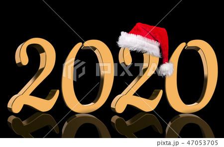 3D Render - 2020 in golden numbers with Santa Cap 47053705
