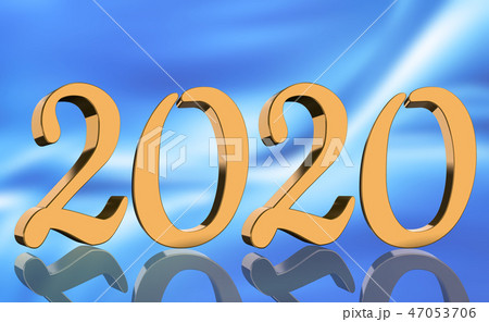 3D Render - The year 2020 in golden numbers 47053706