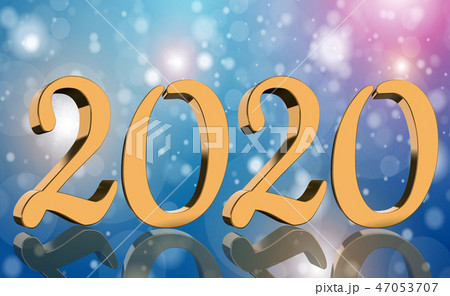 3D Render - The year 2020 in golden numbers 47053707