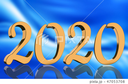 3D Render - The year 2020 in golden numbers 47053708