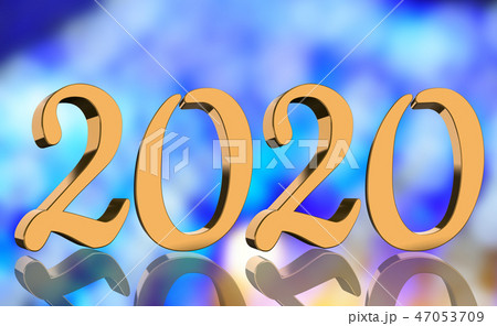 3D Render - The year 2020 in golden numbers 47053709
