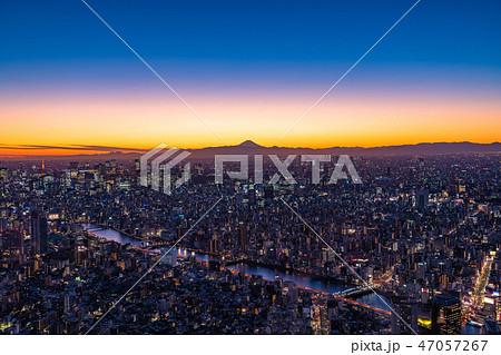 《日本の絶景》東京の夜景・富士山を望む《スカイツリー展望台より》 47057267