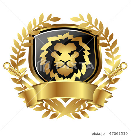 Lion head and shield heraldry 47061530