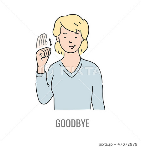 Vector deaf mute sign language character gesture 47072979