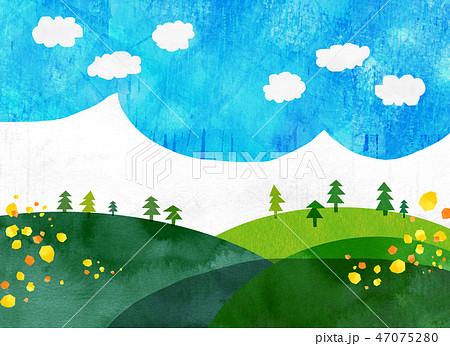 自然風景 丘 山 空 コラージュ 47075280