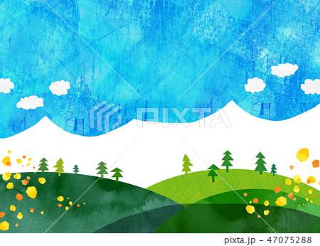 自然風景 丘 山 空 コラージュ 47075288