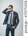 Handsome businessman touching head 47075308