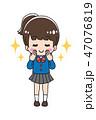 ネイル マニキュア 女の子のイラスト 47076819