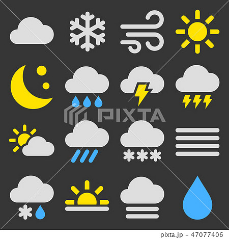 Weather Icons Set on Black Background. Vector 47077406