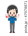 指ハート 男の子 学生のイラスト 47078871