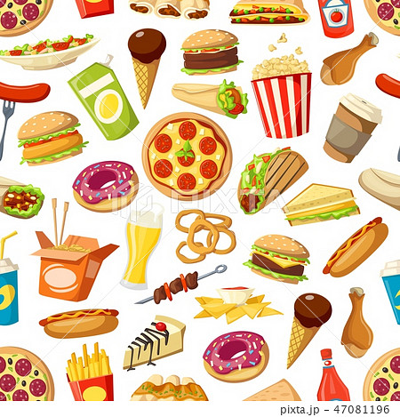 Seamless pattern of fast food meals 47081196