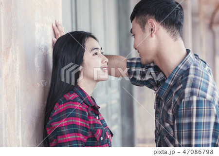Smiling couple in love at in an abandoned building 47086798