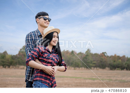 Romantic Young Couple in Love Outdoors. 47086810