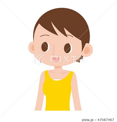 日焼けした褐色の肌の女性 タンクトップ 47087467