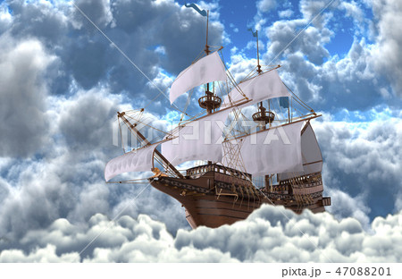 Sailboat flying above the clouds 3d illustration 47088201