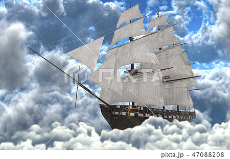 Sailboat flying above the clouds 3d illustration 47088208