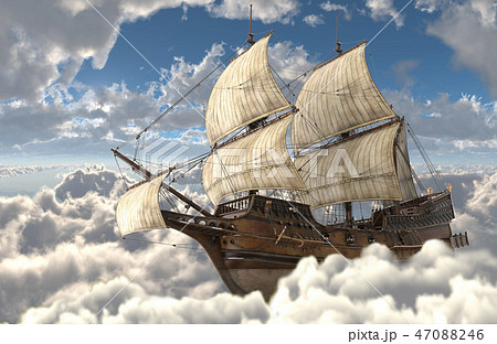 Sailboat flying above the clouds 3d illustration 47088246