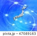 日本地図 日本列島 デジタルのイラスト 47089163