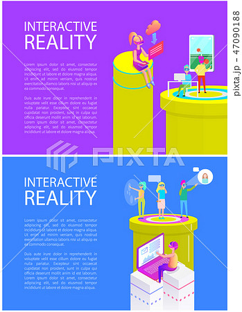Virtual Reality Text on Posters Vector Illustration 47090188