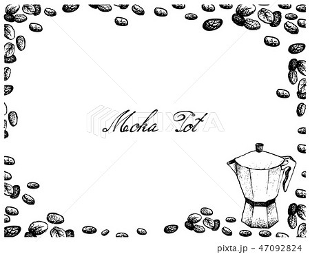 Hand Drawn of Moka Pot with Coffee Beans 47092824