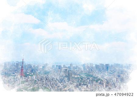 東京の都市風景 水彩画風 47094922