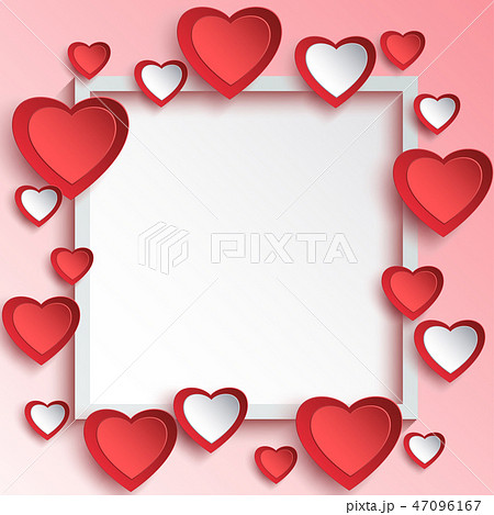 Abstract Valentine day background, 3d paper hearts 47096167
