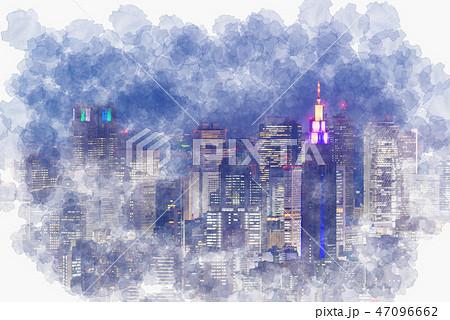東京の夜景 水彩画風 47096662