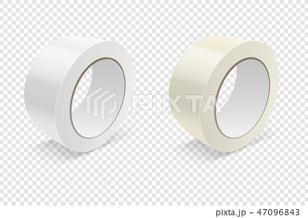 Vector Realistic 3d Glossy Tape Roll Icon Set or Mock-up Closeup Isolated on Transparen Background 47096843