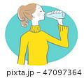 水 飲む 女性のイラスト 47097364