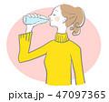 水 飲む 女性のイラスト 47097365