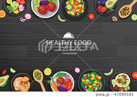 Healthy food with ingredients on the dark wooden 47099583