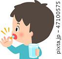 カプセル薬を飲む若い男性 47100575